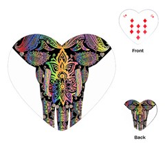 Prismatic Floral Pattern Elephant Playing Cards (heart)  by Nexatart