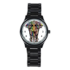 Prismatic Floral Pattern Elephant Stainless Steel Round Watch by Nexatart
