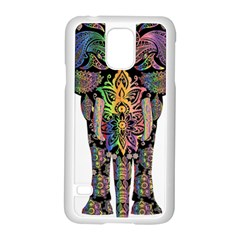 Prismatic Floral Pattern Elephant Samsung Galaxy S5 Case (white) by Nexatart