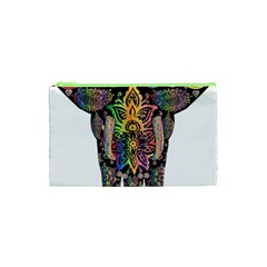 Prismatic Floral Pattern Elephant Cosmetic Bag (xs) by Nexatart