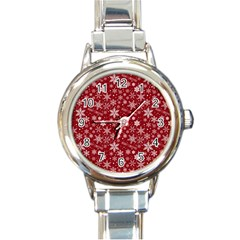 Merry Christmas Pattern Round Italian Charm Watch by Nexatart