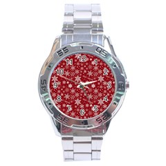 Merry Christmas Pattern Stainless Steel Analogue Watch by Nexatart