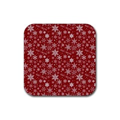 Merry Christmas Pattern Rubber Square Coaster (4 Pack)  by Nexatart