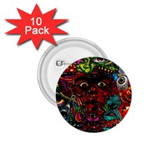Abstract Psychedelic Face Nightmare Eyes Font Horror Fantasy Artwork 1 75  Buttons (10 Pack) by Nexatart