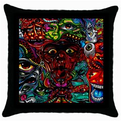 Abstract Psychedelic Face Nightmare Eyes Font Horror Fantasy Artwork Throw Pillow Case (black) by Nexatart