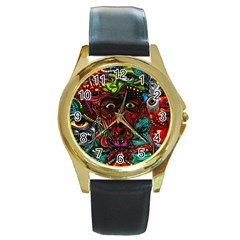 Abstract Psychedelic Face Nightmare Eyes Font Horror Fantasy Artwork Round Gold Metal Watch by Nexatart