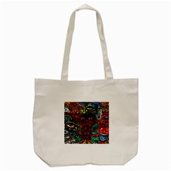 Abstract Psychedelic Face Nightmare Eyes Font Horror Fantasy Artwork Tote Bag (cream) by Nexatart