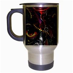 Abstract Psychedelic Face Nightmare Eyes Font Horror Fantasy Artwork Travel Mug (silver Gray) by Nexatart