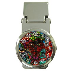 Abstract Psychedelic Face Nightmare Eyes Font Horror Fantasy Artwork Money Clip Watches by Nexatart