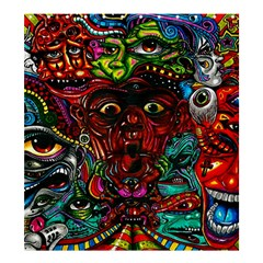 Abstract Psychedelic Face Nightmare Eyes Font Horror Fantasy Artwork Shower Curtain 66  X 72  (large)  by Nexatart