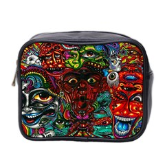 Abstract Psychedelic Face Nightmare Eyes Font Horror Fantasy Artwork Mini Toiletries Bag 2 Side