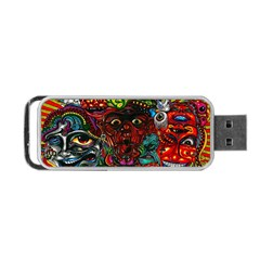Abstract Psychedelic Face Nightmare Eyes Font Horror Fantasy Artwork Portable Usb Flash (two Sides) by Nexatart