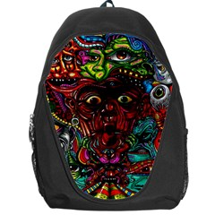 Abstract Psychedelic Face Nightmare Eyes Font Horror Fantasy Artwork Backpack Bag by Nexatart
