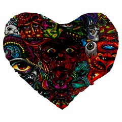 Abstract Psychedelic Face Nightmare Eyes Font Horror Fantasy Artwork Large 19  Premium Heart Shape Cushions by Nexatart