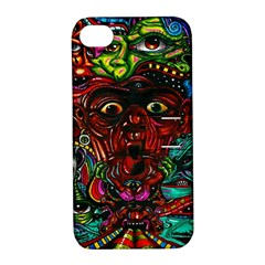 Abstract Psychedelic Face Nightmare Eyes Font Horror Fantasy Artwork Apple Iphone 4/4s Hardshell Case With Stand by Nexatart