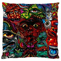 Abstract Psychedelic Face Nightmare Eyes Font Horror Fantasy Artwork Large Flano Cushion Case (two Sides) by Nexatart