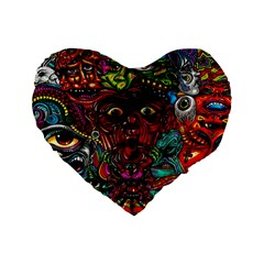 Abstract Psychedelic Face Nightmare Eyes Font Horror Fantasy Artwork Standard 16  Premium Flano Heart Shape Cushions by Nexatart