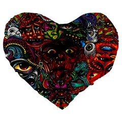 Abstract Psychedelic Face Nightmare Eyes Font Horror Fantasy Artwork Large 19  Premium Flano Heart Shape Cushions by Nexatart