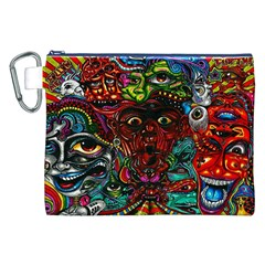Abstract Psychedelic Face Nightmare Eyes Font Horror Fantasy Artwork Canvas Cosmetic Bag (xxl) by Nexatart