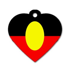 Flag Of Australian Aborigines Dog Tag Heart (two Sides) by Nexatart