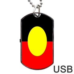 Flag Of Australian Aborigines Dog Tag Usb Flash (two Sides) by Nexatart
