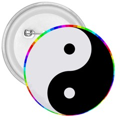 Rainbow Around Yinyang 3  Buttons by Nexatart