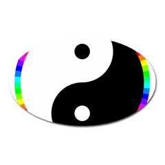 Rainbow Around Yinyang Oval Magnet by Nexatart