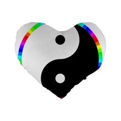 Rainbow Around Yinyang Standard 16  Premium Flano Heart Shape Cushions by Nexatart