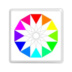 Rainbow Dodecagon And Black Dodecagram Memory Card Reader (square)  by Nexatart