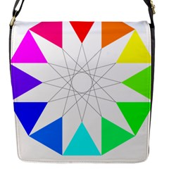 Rainbow Dodecagon And Black Dodecagram Flap Messenger Bag (s) by Nexatart