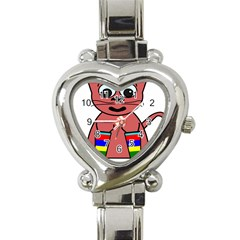 Cartoon Cat In Rainbow Socks Heart Italian Charm Watch by Nexatart