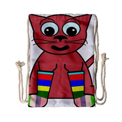 Cartoon Cat In Rainbow Socks Drawstring Bag (small) by Nexatart