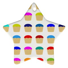 Colorful Cupcakes Pattern Ornament (star) by Nexatart