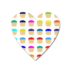 Colorful Cupcakes Pattern Heart Magnet by Nexatart