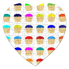 Colorful Cupcakes Pattern Jigsaw Puzzle (heart) by Nexatart