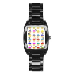 Colorful Cupcakes Pattern Stainless Steel Barrel Watch by Nexatart