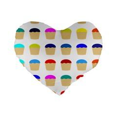 Colorful Cupcakes Pattern Standard 16  Premium Flano Heart Shape Cushions by Nexatart