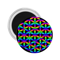 Rainbow Flower Of Life In Black Circle 2 25  Magnets by Nexatart