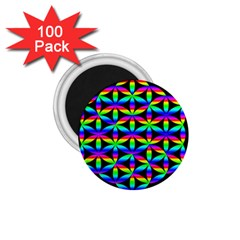 Rainbow Flower Of Life In Black Circle 1 75  Magnets (100 Pack)  by Nexatart