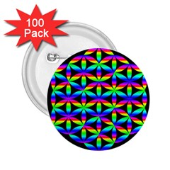 Rainbow Flower Of Life In Black Circle 2 25  Buttons (100 Pack)  by Nexatart