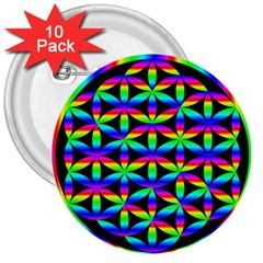 Rainbow Flower Of Life In Black Circle 3  Buttons (10 Pack)  by Nexatart