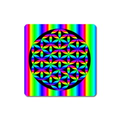 Rainbow Flower Of Life In Black Circle Square Magnet by Nexatart