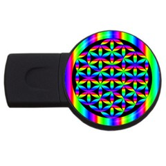 Rainbow Flower Of Life In Black Circle Usb Flash Drive Round (2 Gb) by Nexatart