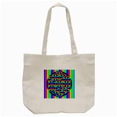 Rainbow Flower Of Life In Black Circle Tote Bag (cream) by Nexatart