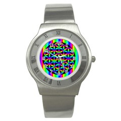 Rainbow Flower Of Life In Black Circle Stainless Steel Watch by Nexatart