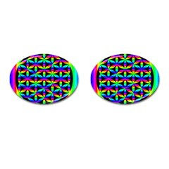 Rainbow Flower Of Life In Black Circle Cufflinks (oval) by Nexatart