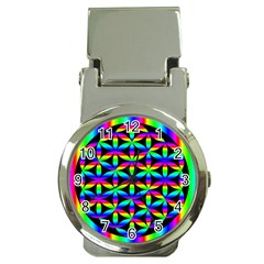 Rainbow Flower Of Life In Black Circle Money Clip Watches by Nexatart