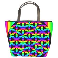Rainbow Flower Of Life In Black Circle Bucket Bags by Nexatart