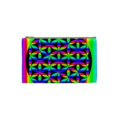 Rainbow Flower Of Life In Black Circle Cosmetic Bag (small)  by Nexatart