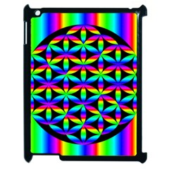 Rainbow Flower Of Life In Black Circle Apple Ipad 2 Case (black) by Nexatart